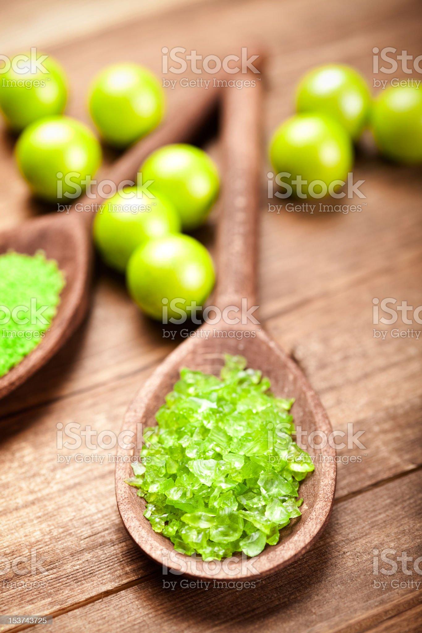 Aromatherapy - green bath salt royalty-free stock photo