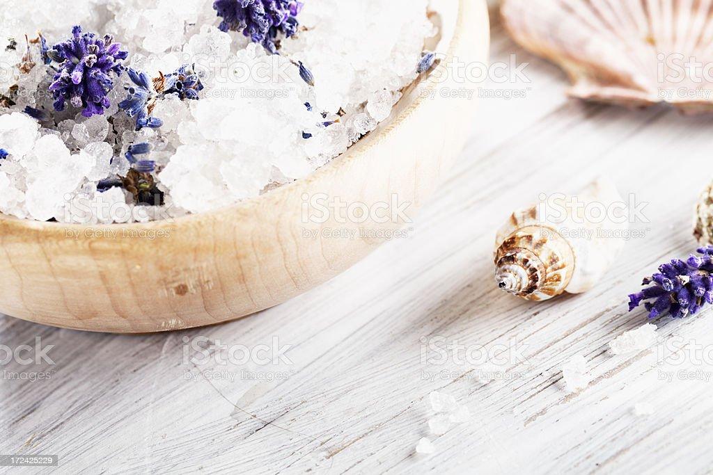 aromatherapy lavender bath salt royalty-free stock photo