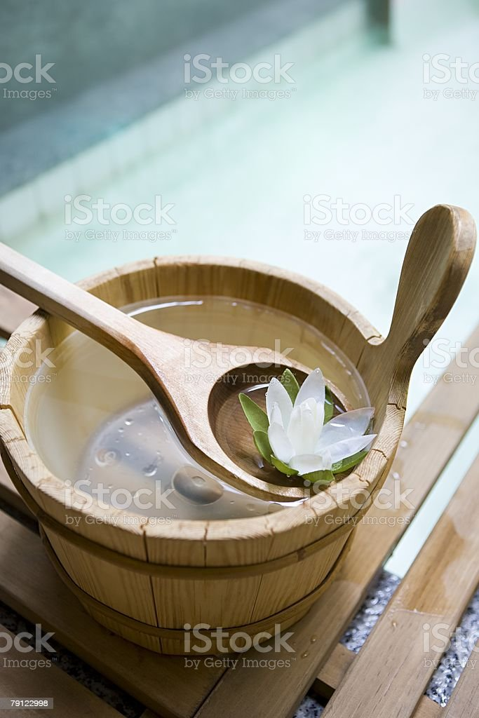 Aromatherapy oils in a bucket royalty-free stock photo