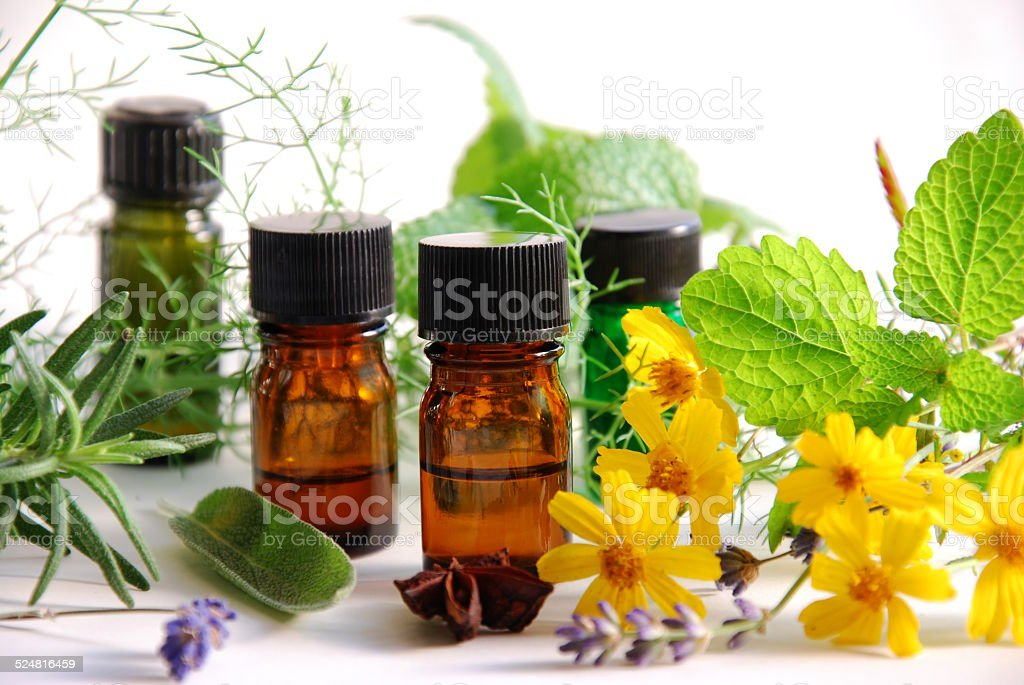 aromatherapy oils with medicinal plants stock photo