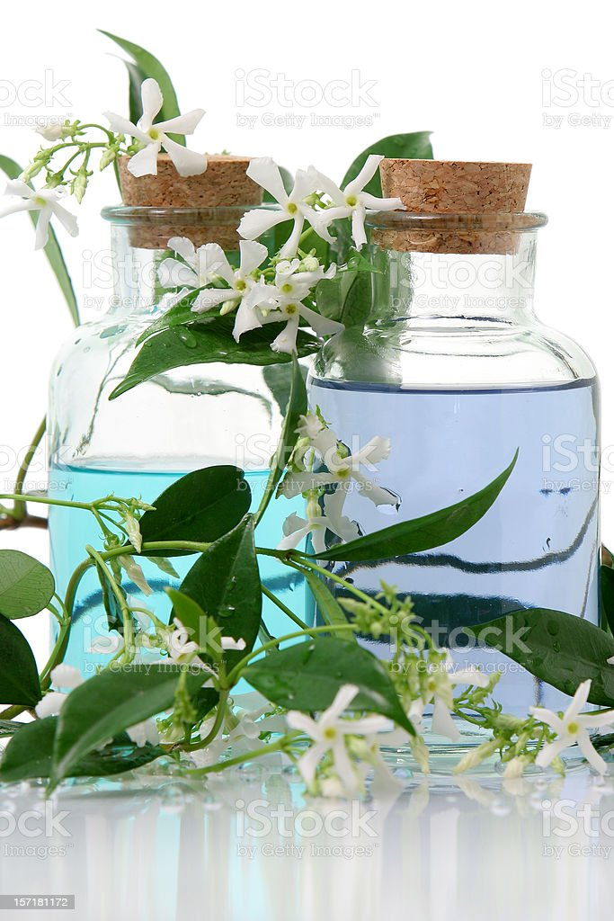 Aromatherapy products bottles with cork and leaves royalty-free stock photo