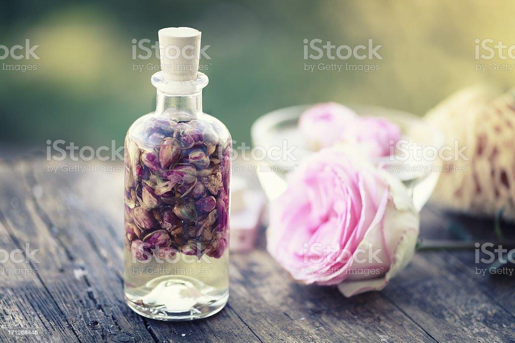 aromatherapy rose massage oil stock photo