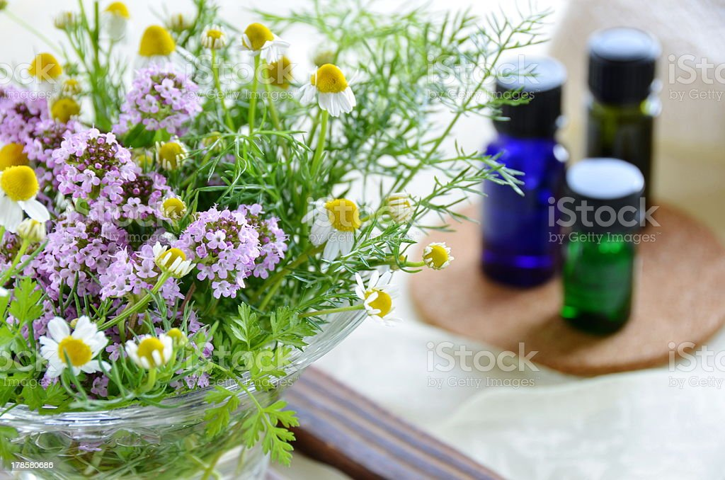 aromatherapy treatment with herbs royalty-free stock photo