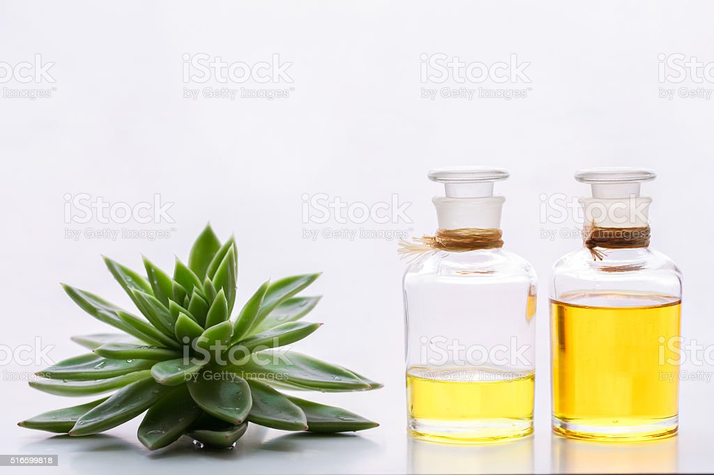 Aromatherapy treatments in bottles stock photo