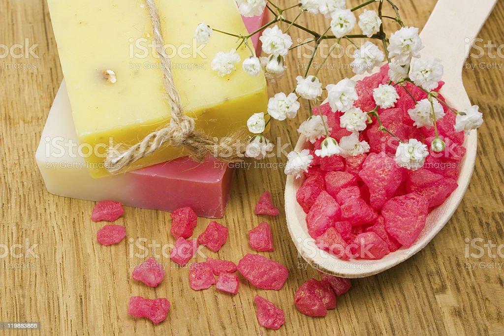 Aromatic bath salt and natural handmade soap stock photo
