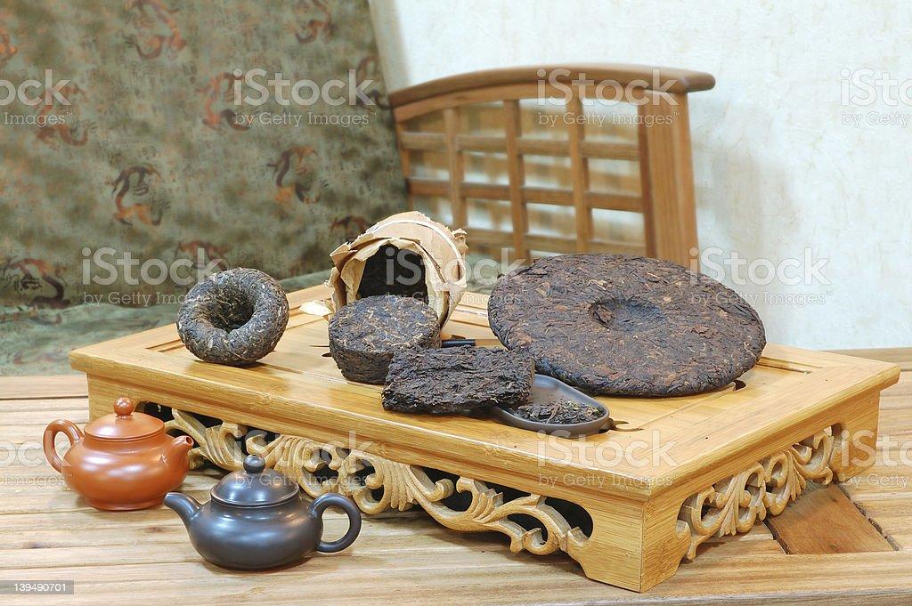 Aromatic black pu-erh tea leaves. royalty-free stock photo