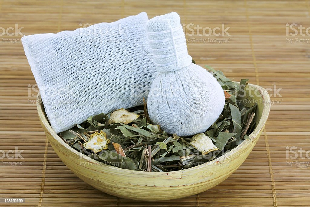 Aromatic Herbal Steam: traditional Thai compress stock photo