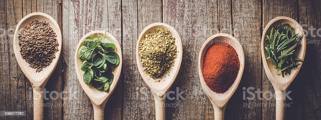 Aromatic herbs and spices stock photo