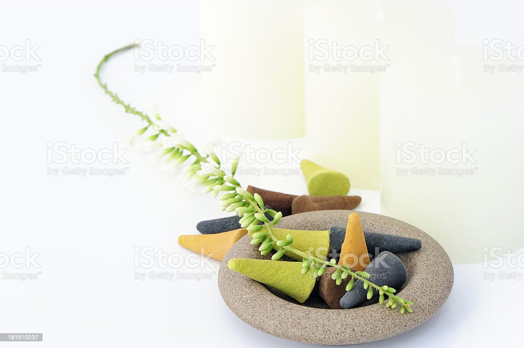 Aromatic incense and Aroma Candle royalty-free stock photo