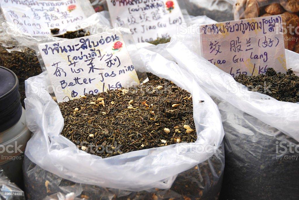 Aromatic Jasmine Tea on an Asian market. stock photo