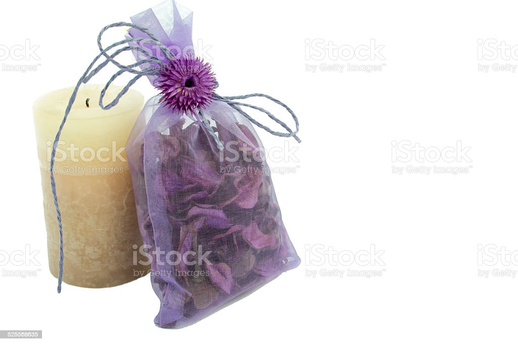 Aromatic mix in a gift package and  candle stock photo
