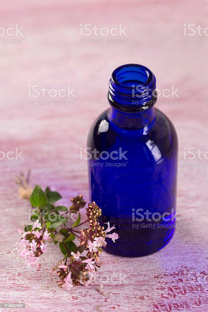 Aromatic oregano essential oil stock photo