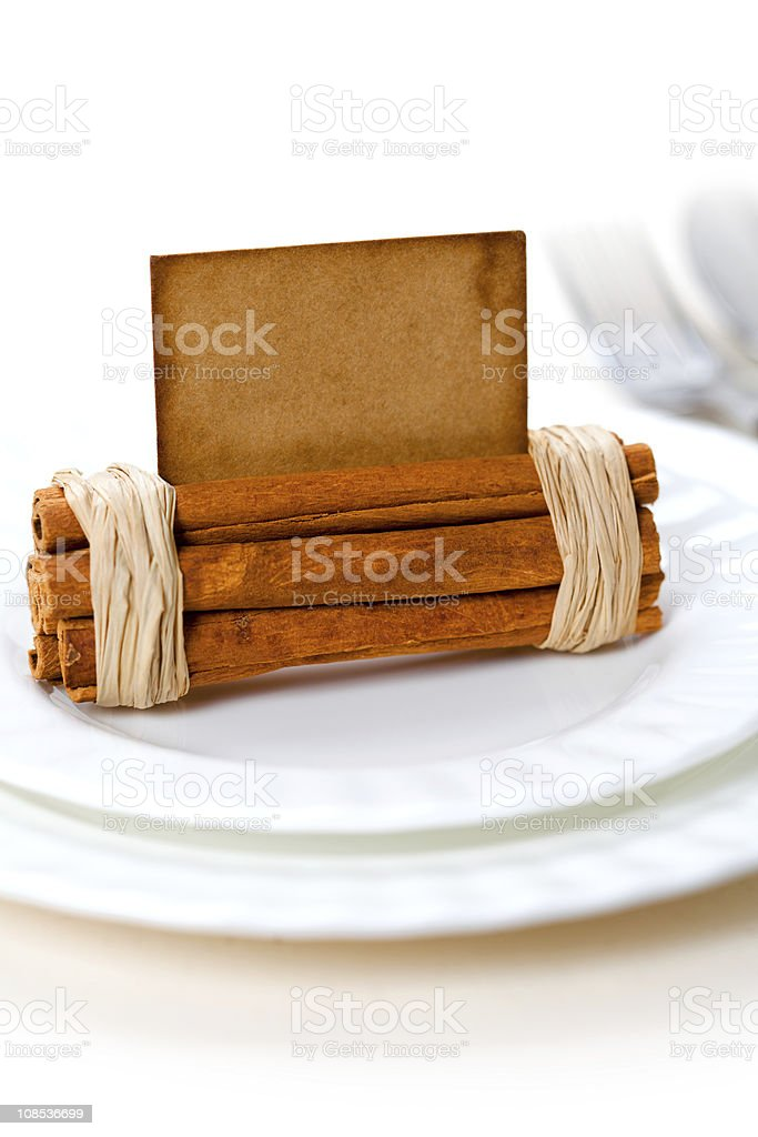 aromatic place card on white plates royalty-free stock photo