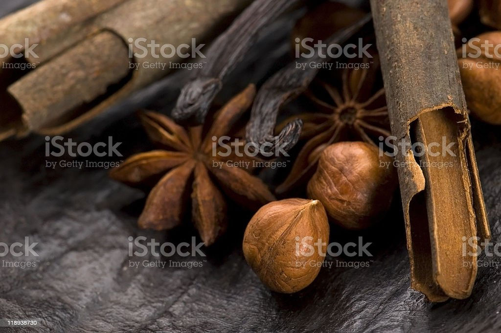 aromatic spices with nuts stock photo