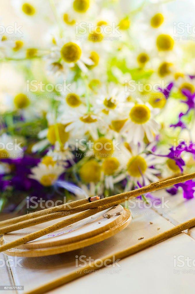 Aromatic sticks fuming stock photo