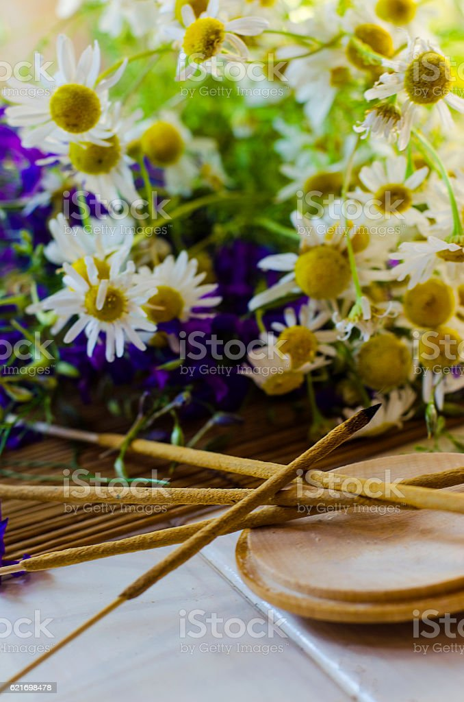 Aromatic sticks fuming stock photo