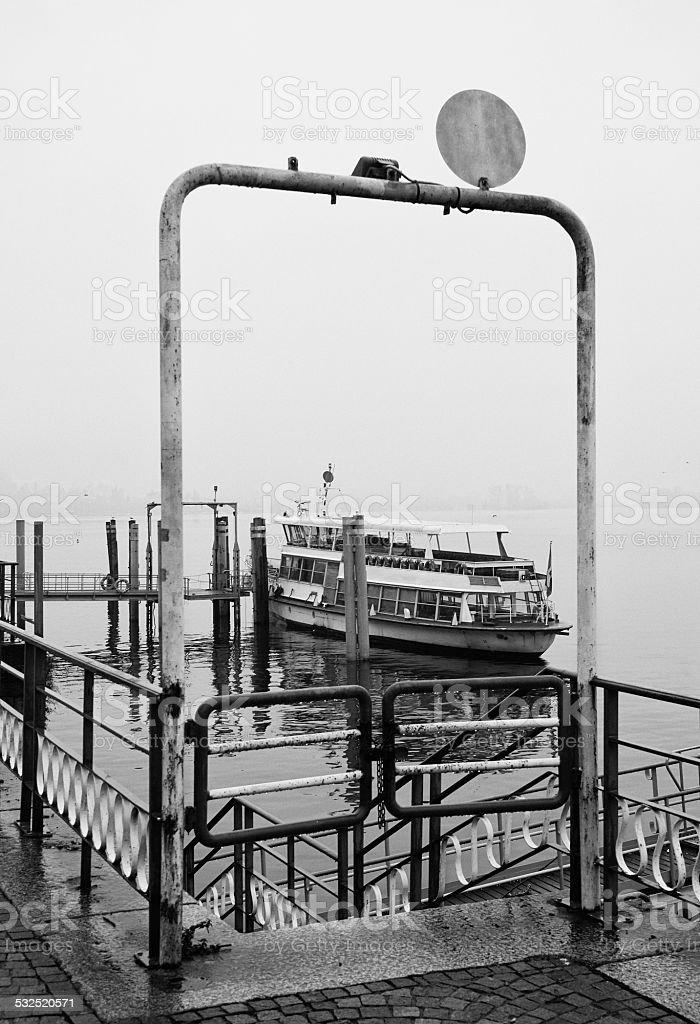 Arona Port. Black and White stock photo