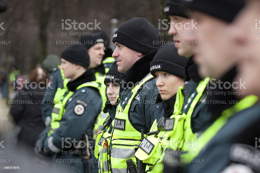 Around 200 police officers ensured safety during the march royalty-free stock photo