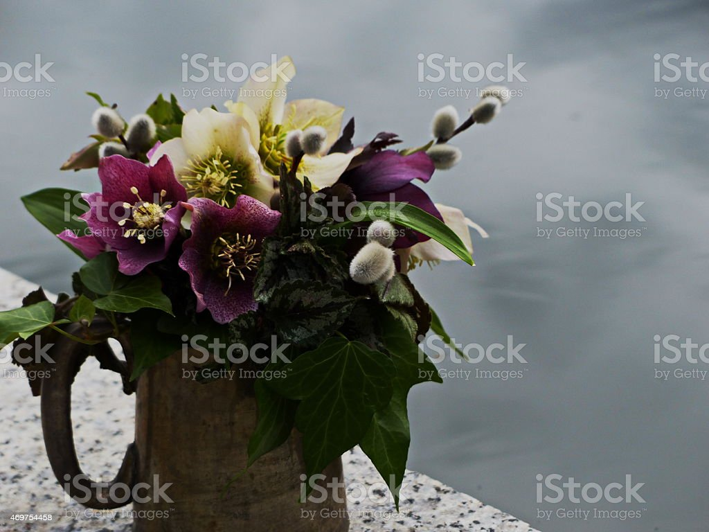 Around our pond -  Colourful Easter Bouquet of Helleborus orientalis... stock photo