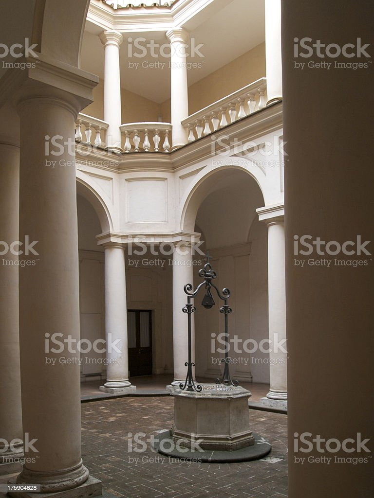 Around the cloister of San Carlo alle Quattro Fontane royalty-free stock photo