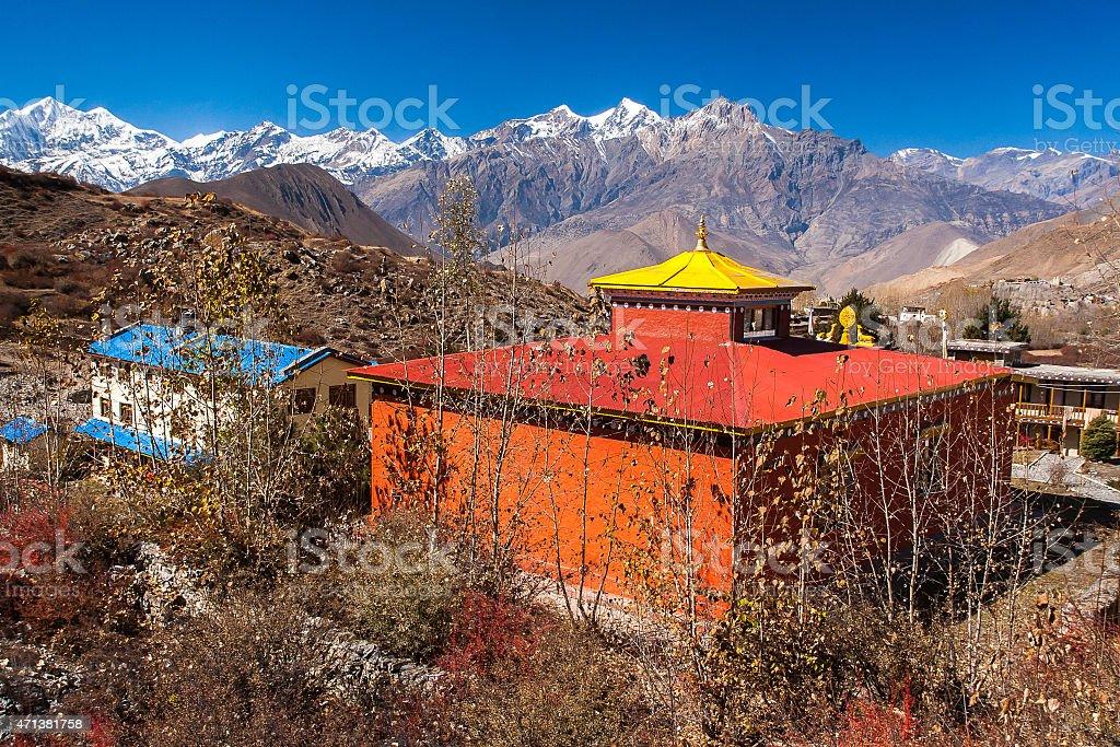 around the village of Muktinath stock photo