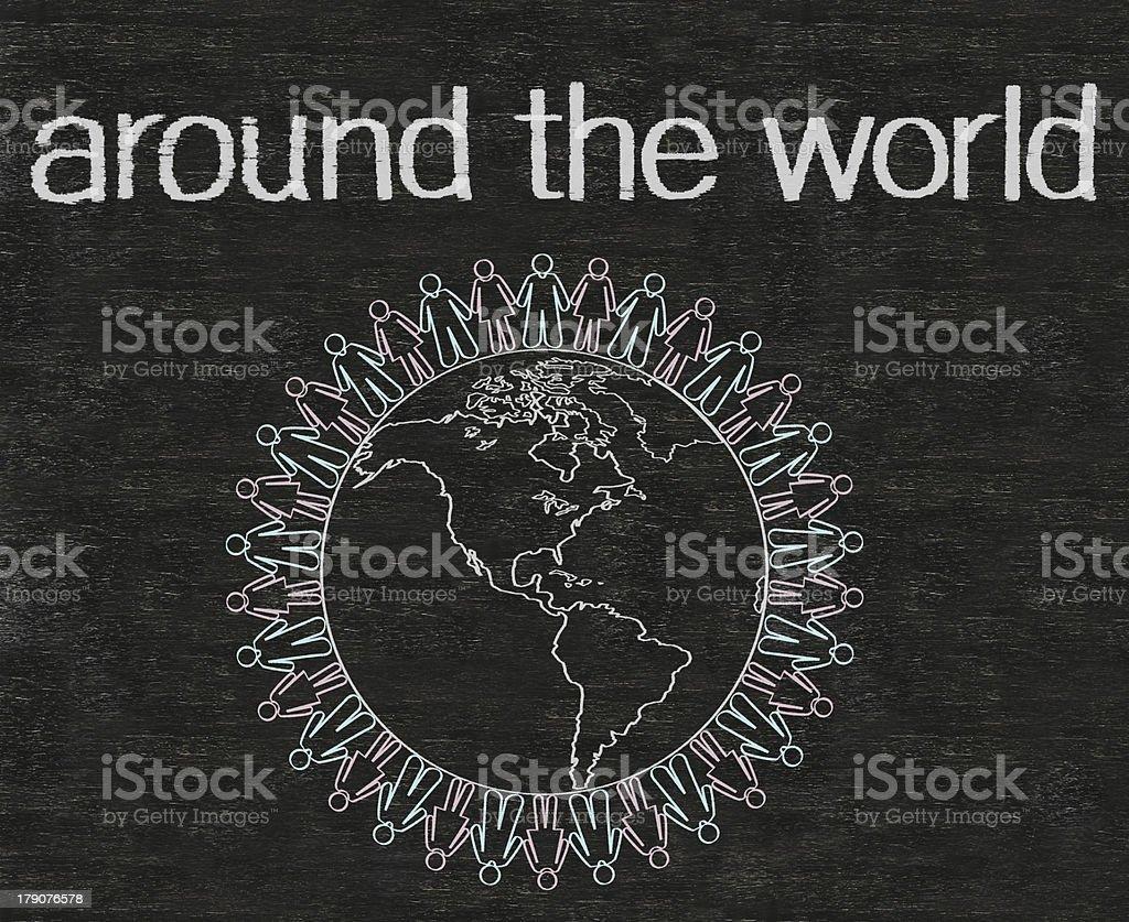 around the world with wolrd written on blackboard high resolution royalty-free stock photo