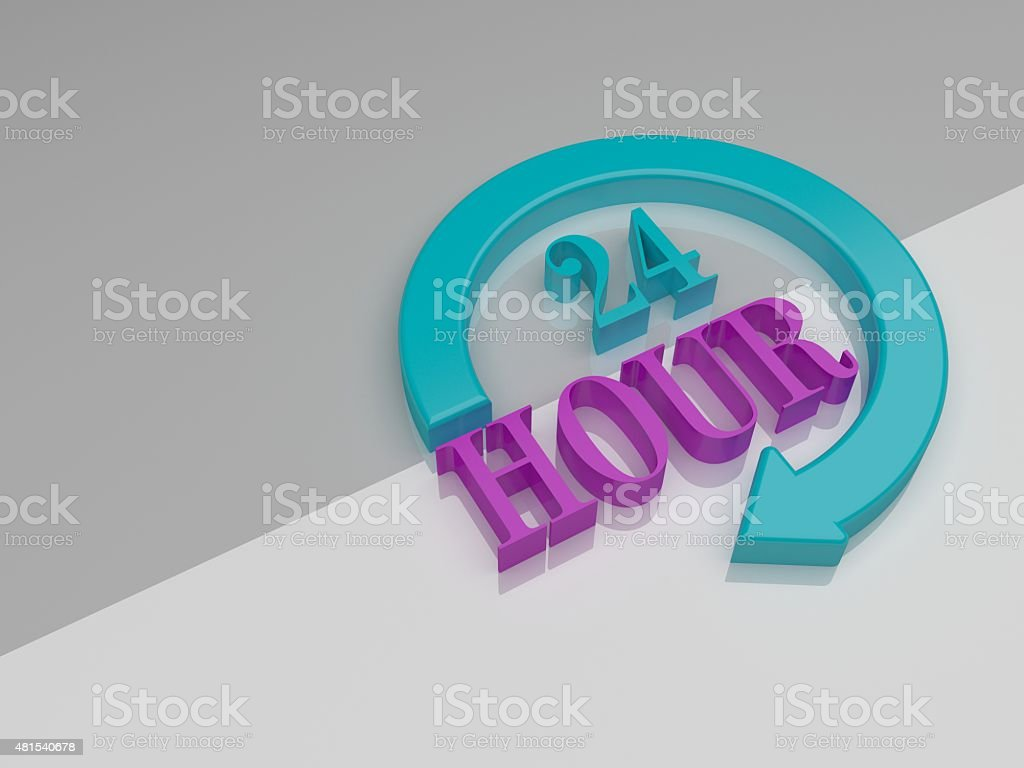 Around-the-clock flat concept 24 hours timer stock photo