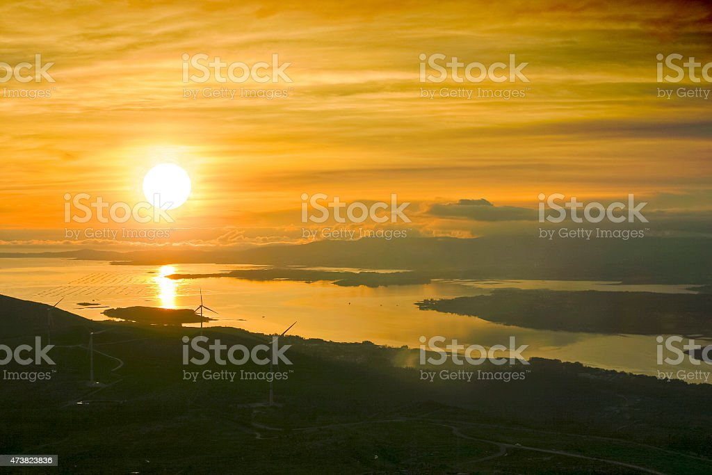 Arousa Estuary at sunset stock photo