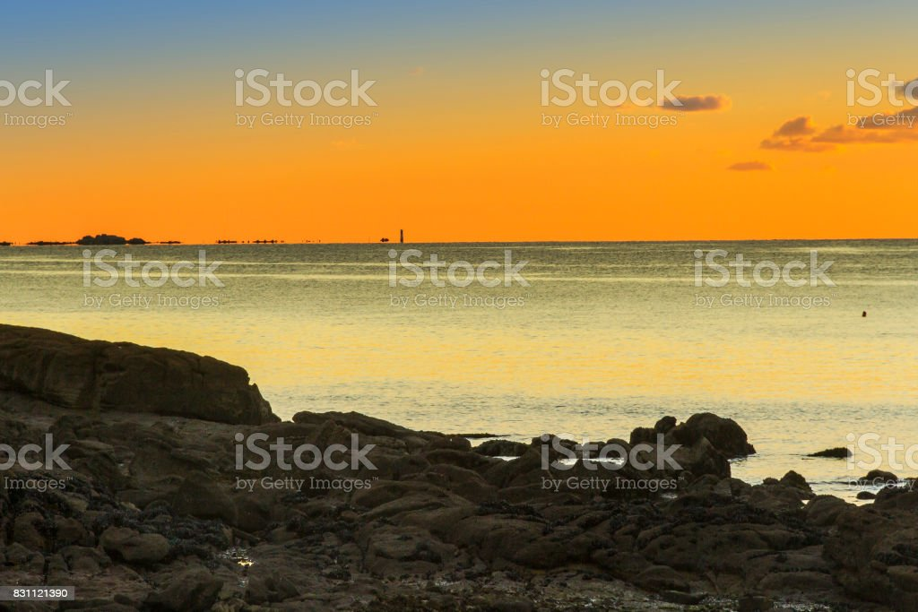 Arousa estuary mouth at red dusk stock photo