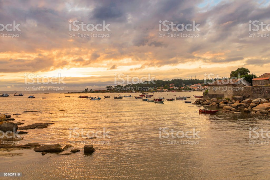 Arousa Island at cloudy sunset stock photo
