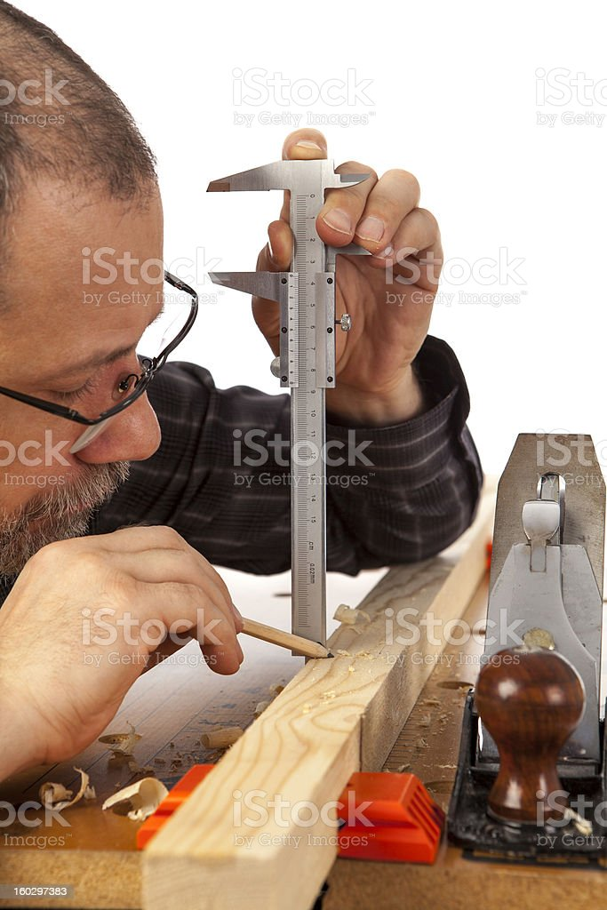 ?arpenter with calipers. royalty-free stock photo