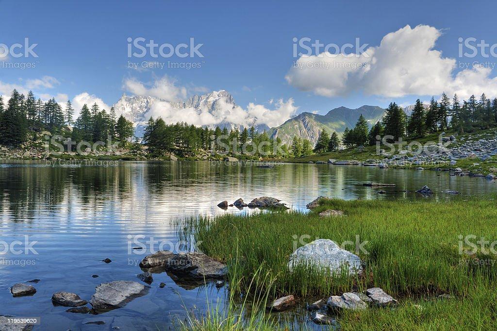 Arpy lake, Aosta Valley stock photo