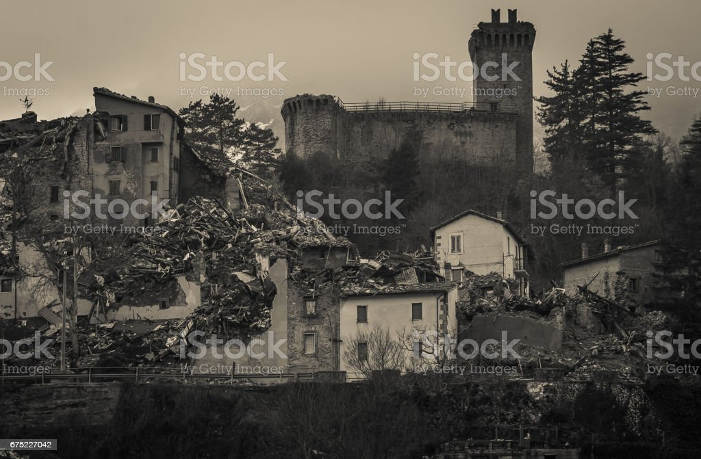 Arquata del Tronto medieval village destroyed by the earthquake of Amatrice stock photo