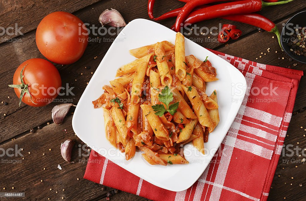 arrabiata pasta stock photo