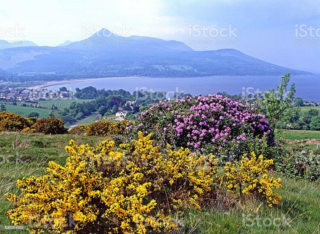 Arran mountains across Brodick Bay Scotland stock photo