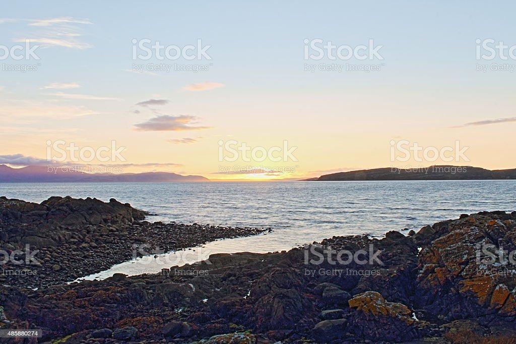 Arran sunset stock photo