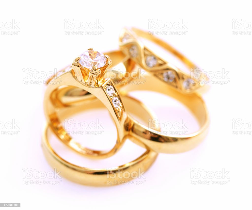 Arrange of gold rings that have embedded gems royalty-free stock photo