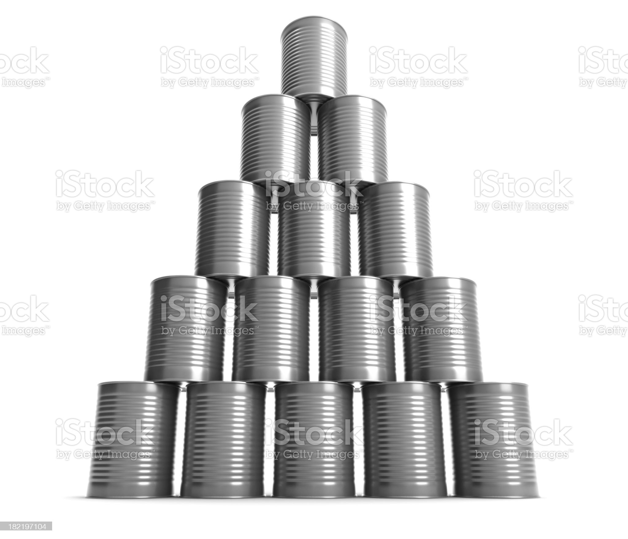 Arranged Metal Cans royalty-free stock photo