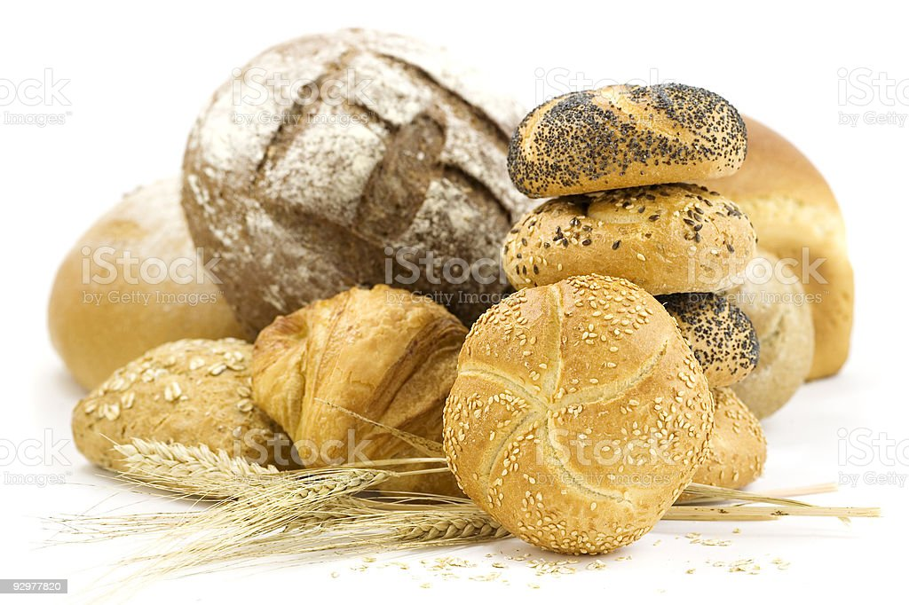 Arrangement of bread against a white background royalty-free stock photo