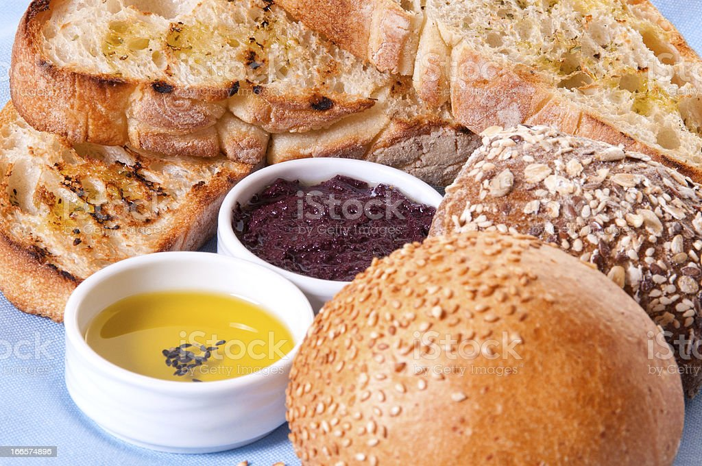 Arrangement of bread with sauces. royalty-free stock photo