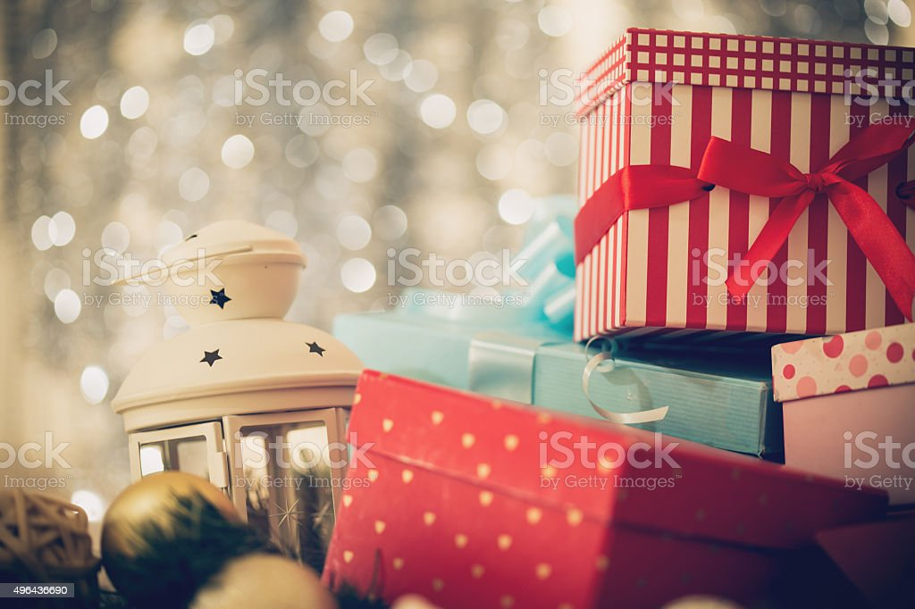 Arrangement of Christmas presents stock photo
