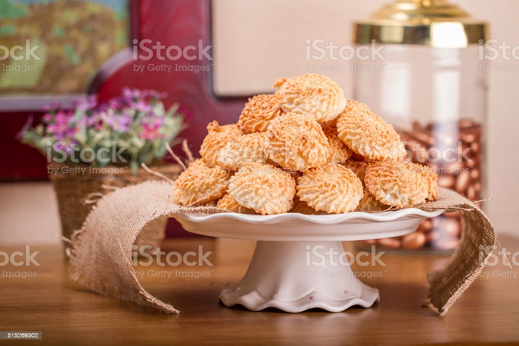 Arrangement of coconut cookies stock photo