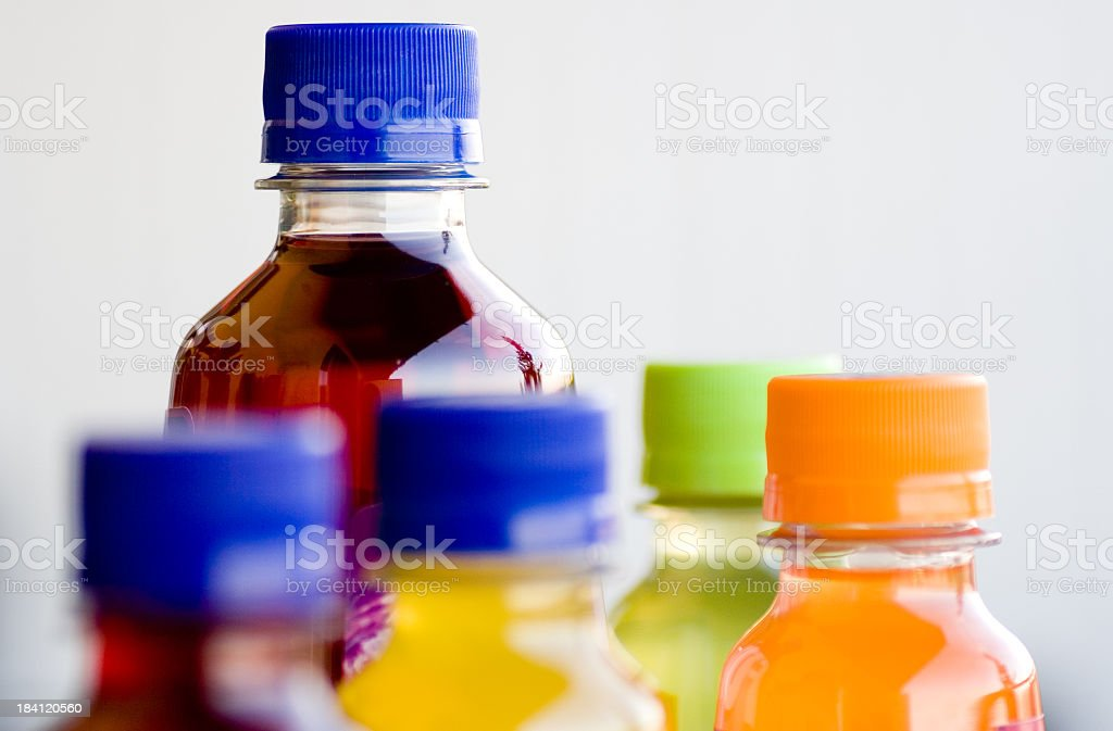 Arrangement of colorful plastic bottles royalty-free stock photo