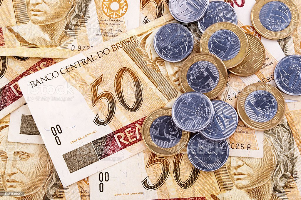 Arrangement of different types of Brazilian money stock photo