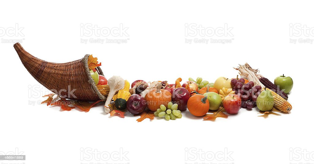 Arrangement of fall fruits and vegetables stock photo