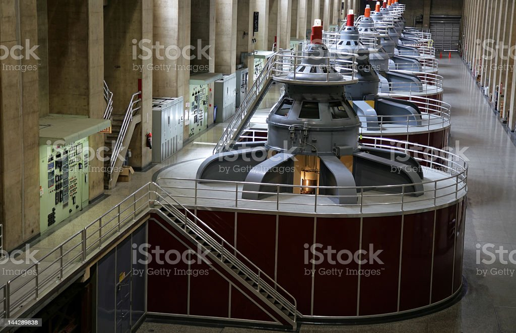 Arrangement of Hoover Dam generators at a plant stock photo