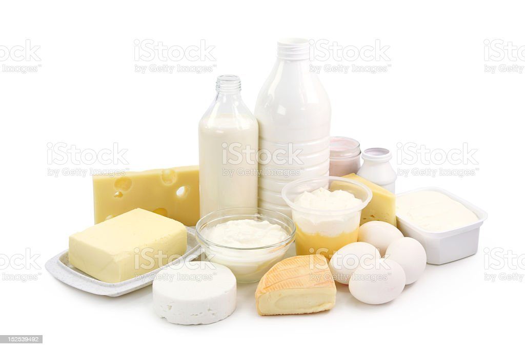 Arrangement of milk, eggs, and other dairy items royalty-free stock photo