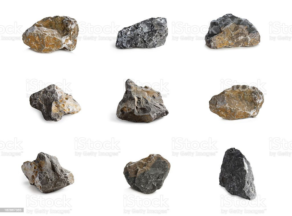 Arrangement of nine rocks with different colors and textures stock photo
