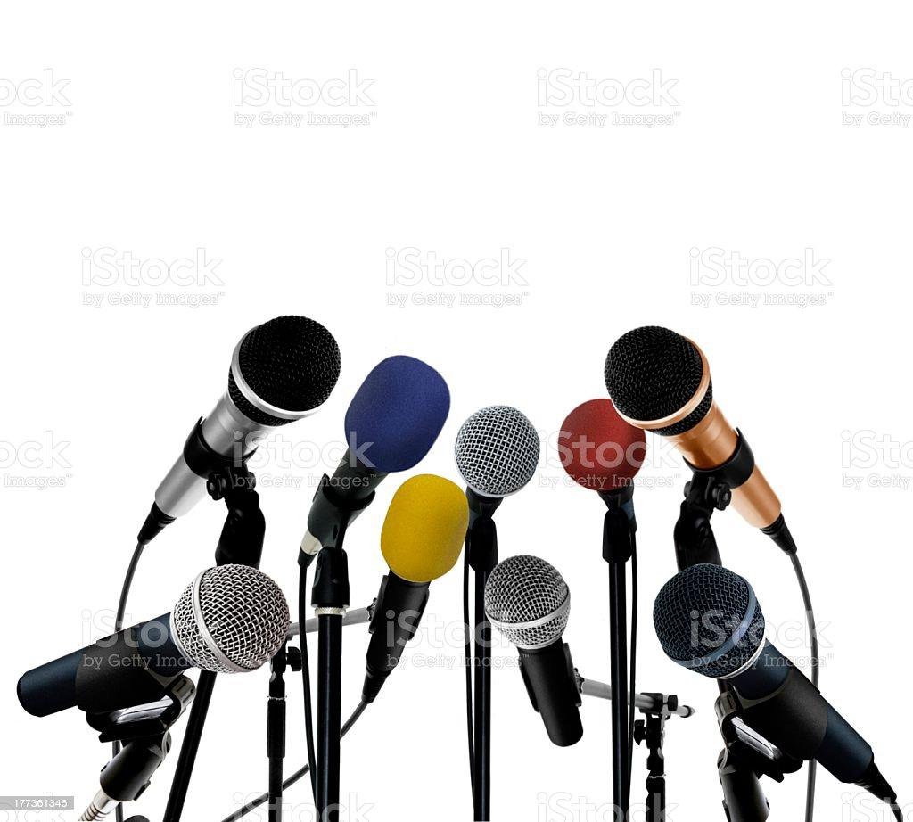 Arrangement of press conference microphones isolated royalty-free stock photo