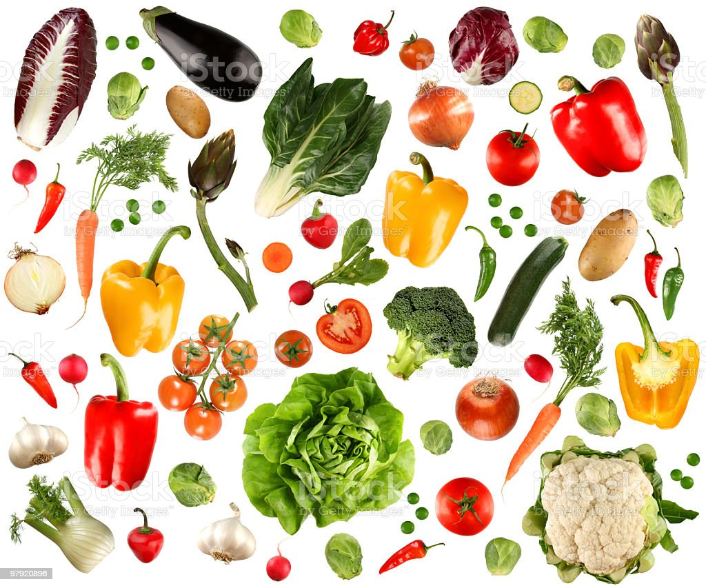 Arrangement of several vegetables against white background stock photo